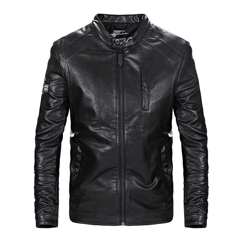 MORUANCLE 2018 Spring Mens Faux Leather Motorcycle Jacket Fashion PU Biker Jackets For Man Stand Collar Plus Size M-4XL