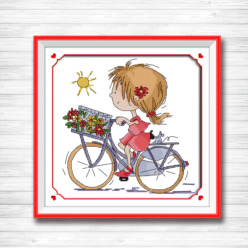 Home & Garden Professional Sale The Butterfly Girl Beauty Paintings Dmc 14ct 11ct Counted Cross Stitch Needlework Set Embroidery Kits Chinese Cross Stitch