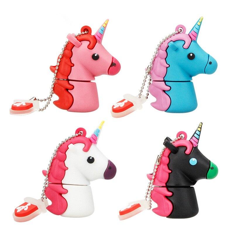 U Stick Cute Unicorn Usb Flash Drive Silicone Horse Pendrive 2.0 8GB 16GB 32GB 64GB 128GB Flash Disk Free Custom Logo & Delivery