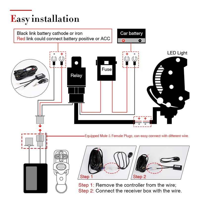 led light bar wireless remote control switch kit dc 12v car led bar work  light spotlight wire set for kamaz uaz atv offroad 4x4