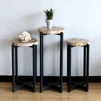 Polished Natural Pertified Wood Small Slice End Table Nordic Loft Forged Iron Side Table Home Decoration