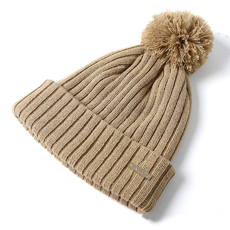 Winter Knitted   Beanie   Women Outdoor pompom Hat Female Solid Warm Caps Women Winter Hat Cotton Stripe   Skullies     Beanies   Thick Hats