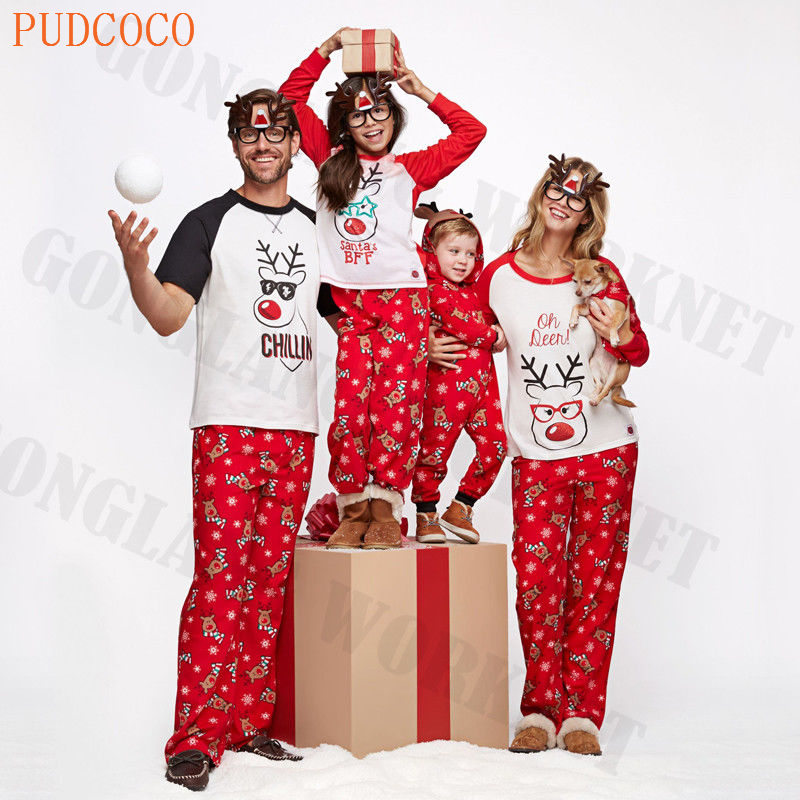 PUDCOCO Hot Family Matching Christmas Pajamas PJs Sets Xmas Sleepwear Nightwear fashion T-Shirt Pants Kid