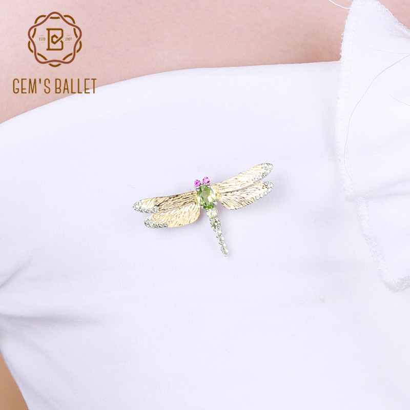 GEM S BALLET 925 Sterling Sliver Handmade Dragonfly Brooches For Women 1 13Ct Natural Green Peridot
