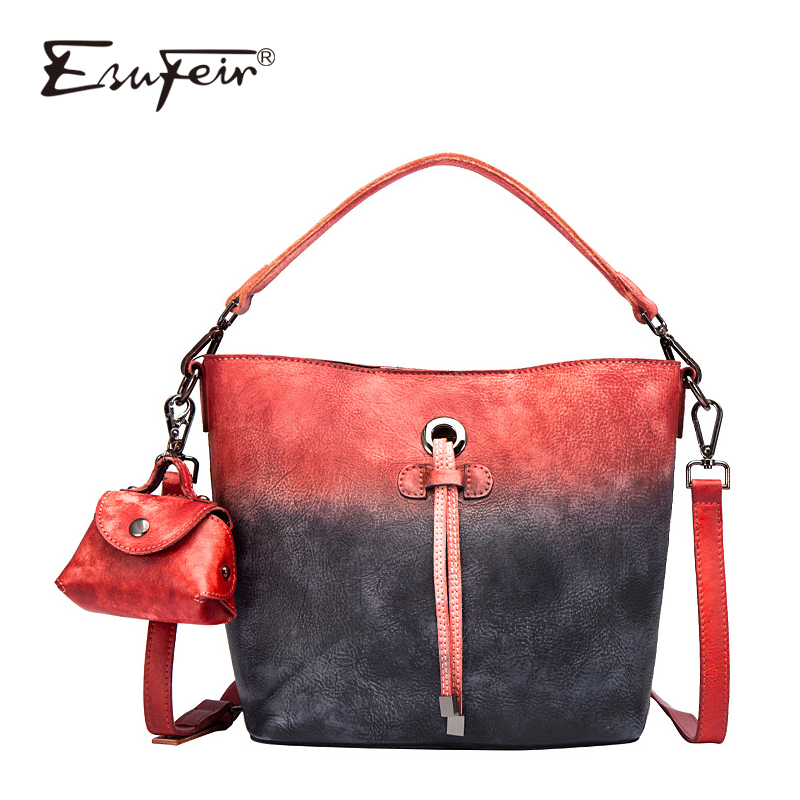 2018 ESUFEIR Cow Leather Women Handbag Vintage Design Brand Bag Women Shoulder Bag Leather High Quality Women Bucket Tote Bag ladylike women s tote bag with solid color and daisy embossing design