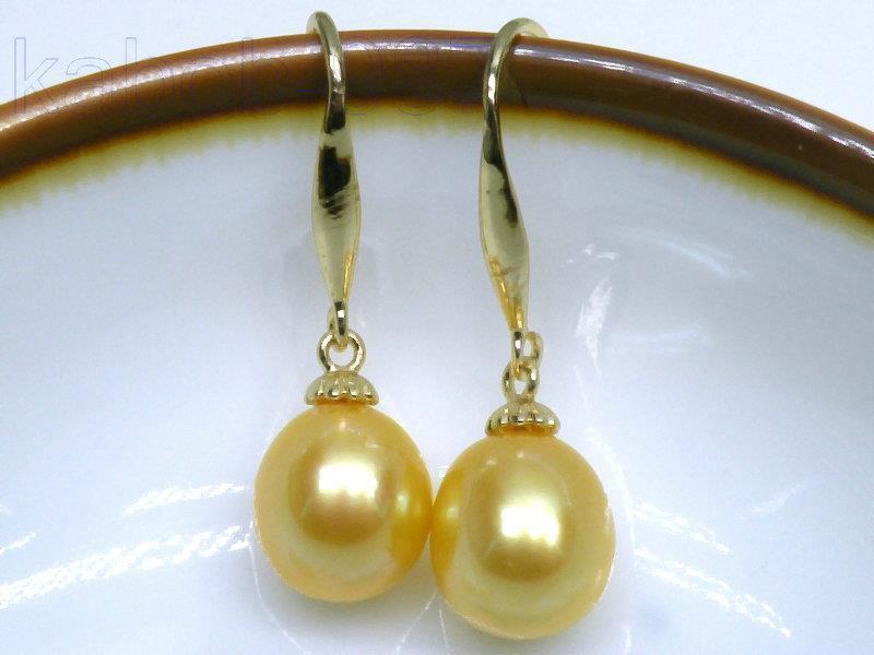 AAA + 9*11mm goutte dor jaune mer du sud Dangle perles boucle doreille 14 K/20 orAAA + 9*11mm goutte dor jaune mer du sud Dangle perles boucle doreille 14 K/20 or