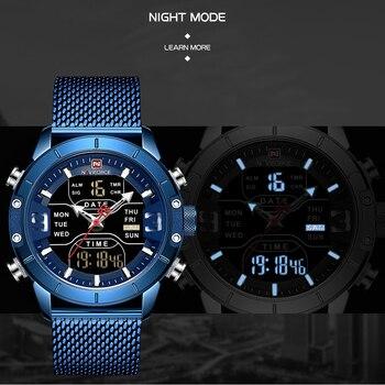 NAVIFORCE Mens Watches Top Luxury Brand Men Sports Watches Men's Quartz LED Digital Clock Male Full Steel Military Wrist Watch 2