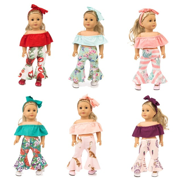 2 Outfits Casual Clothes Off-Shoulder Shirt Style for American 18 inch Girl Doll