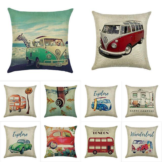 45 cm * 45 cm Un retro bus lino/cotone tiro cuscino copre copertura cuscino del