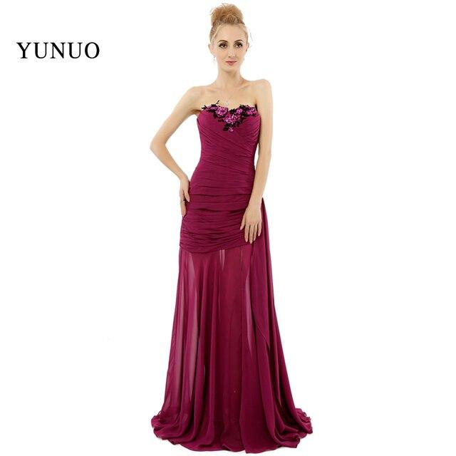 2016 Dark Red maß plus größe Brautjungfer Kleid Lange Elegante ...