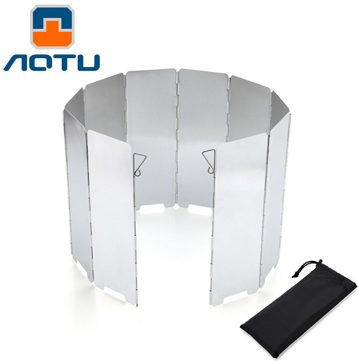 10 Plates Foldable Outdoor Camping Cooking Cooker Gas Stove Wind Shield Screens Aluminium Alloy Windshield + Protecting Bag 294