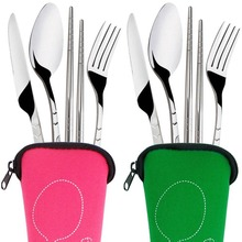 3Pcs/4 Pcs/Set Stainless Steel Outdoor Travel Camping Portable Set Fork Spoon Chopsticks Cutlery Bag Sets