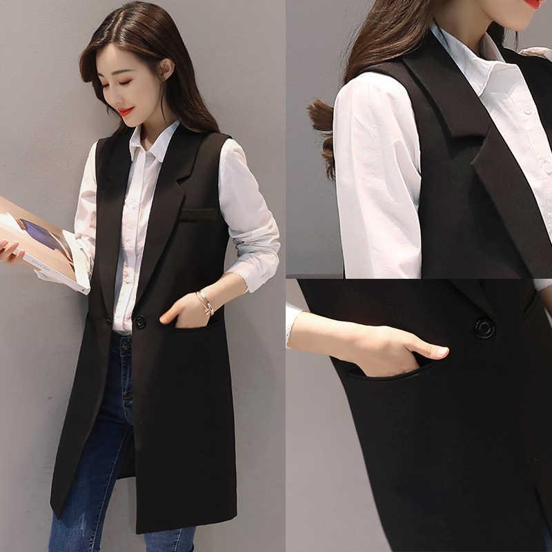 5XL длинный костюм жилет женский плюс размер весна/осень 2019 темперамент облегающий жилет майки больших размеров женская куртка без рукавов