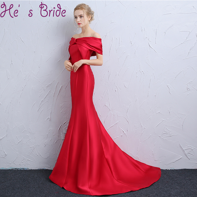 9d0a116f523e3 US $74.8 12% OFF|Evening Dress Elegant Red Boat Neck Short Sleeves Sweep  Train Satin Lace Simple Meamaid Party Prom Dress Robe De Soiree-in Evening  ...