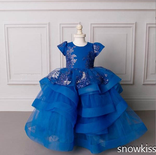 Cute blue cute baby girl lace dress crew neck puffy ruffle tulle short sleeve 1st birthday party outfit with appliques цены