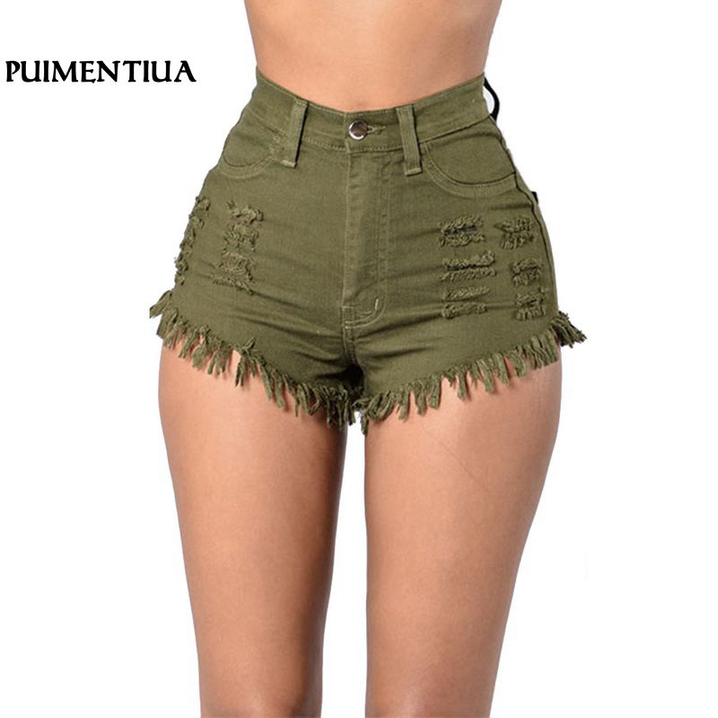 Puimentiua Denim Shorts Women Fashion Tassel Ripped High Waist Summer Short Jeans Sexy Booty Shorts Female Slim Shorts Trousers