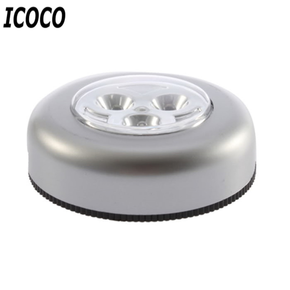 ICOCO 1 pcs 3 LED Stick Tap Touch Night Cordless Battery Powered Cabinet Closet Wardrone Sense Lamp Emergency Wall Lights New