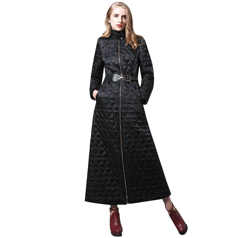 S-4XL Femmes D'hiver noir Parka Plus La Taille X longue Veste mince taille Manteau Chaud Manteau Femme musulman long manteau 6352