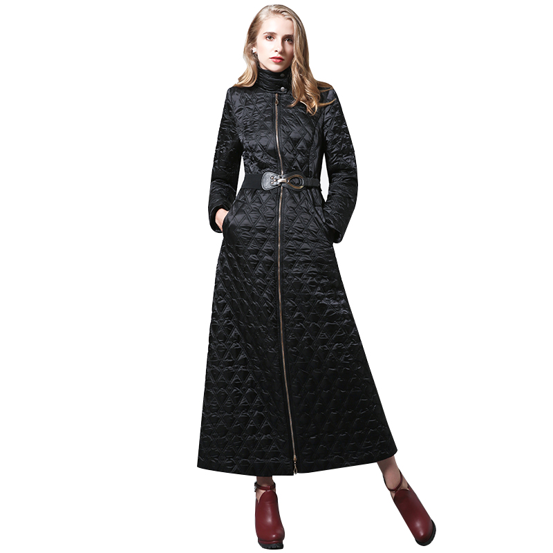 S-4XL Women Winter black   Parka   Plus Size X long Jacket slim waist Warm Overcoat Manteau Femme muslim long coat 6352