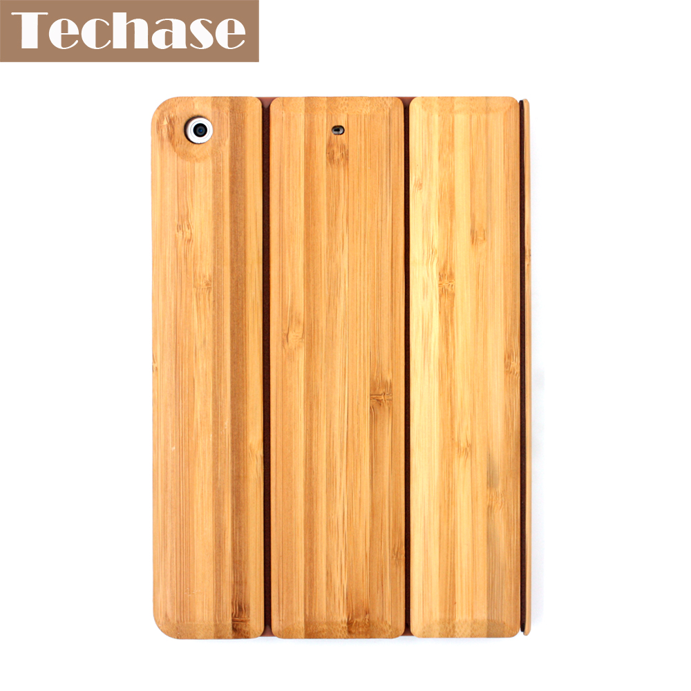 Techase Tablet Cover For iPad 2 3 4 Case Bamboo Protective Back Cover For iPad Mini 1 2 3 Foldable Tablet Stand For iPad Air soft tpu tablet back case for ipad air 1 2 silicone transparent cover for ipad mini 1 2 3 for ipad2 3 4 crystal protective case