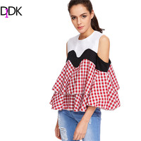 DIDK Women Blouses Cute Summer Tops Contrast Gingham Plaid Open Shoulder Three Quarter Length Ruffle Tiered