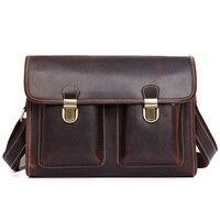 J.M.DJ.M.D Retro Fashion Cow Leather Dark Brown Handbags For Men Messenger Bag Shoulder Bags 1021C