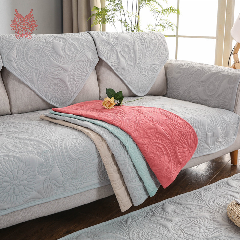 Summer Spring Floral Embroidery Quilted Cotton Sofa Cover