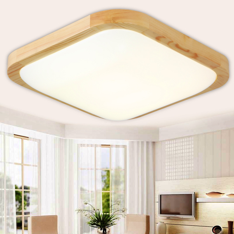 Modern led ceiling lights wood living room bedroom ceiling lamp OAK Square indoor home lighting AC90-260V fixtures luminaria