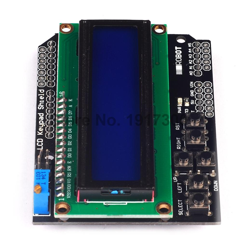 1pcs LCD Keypad Shield LCD1602 LCD 1602 Module Display For Arduino ATMEGA328 ATMEGA2560 raspberry pi UNO blue screen favourite 1602 1f
