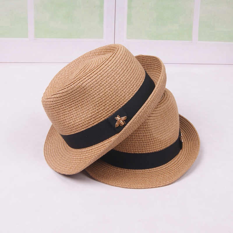 Happy Sunday Breathable Panama Style Straw Hat For Adult Kids Summer Folding Bucket Sun Hats For Women Men Family Set Cap