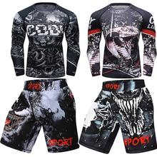 Mma shorts Men MMA Rashguard T-shirts Men Breathable Muay thai T-shirt+Pants Boxing Jerseys Sets Bjj jiu jitsu Kickboxing Suits