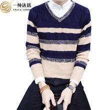 Brand New Sweaters Men pullover Fashion Style Autumn Winter Patchwork Knitted Quality Pullover Men V-Neck Casual Men Sweater XXL