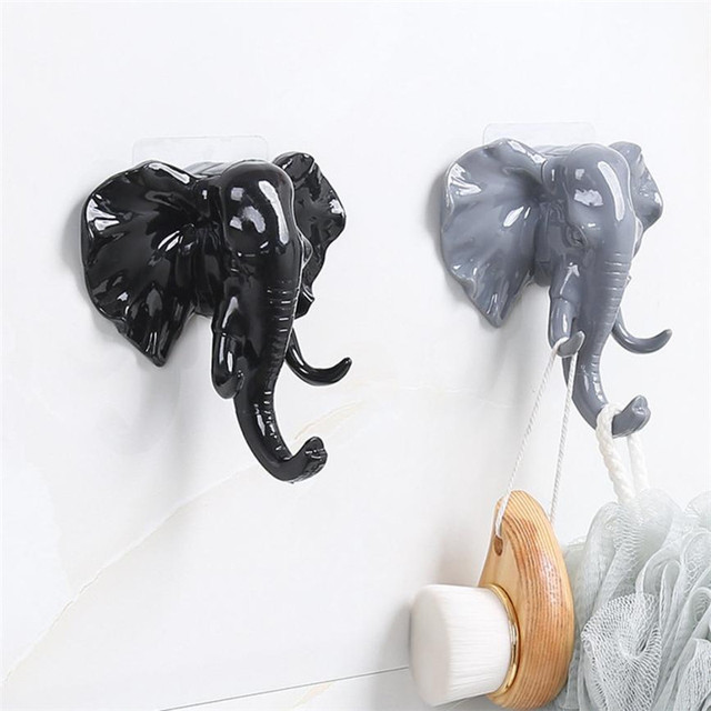 1pc Elephant Head Wall Hanger Storage Keys Hat Bag Mounted Holder Hooks Home Craft E