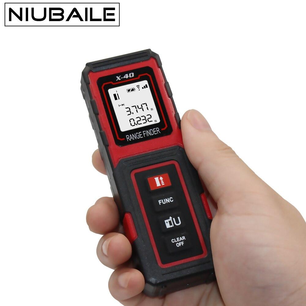 NIUBAILE Digital 40 m láser medidor de distancia telémetro láser de mano Trena cinta métrica ruleta diastímetro área/volumen X40-R