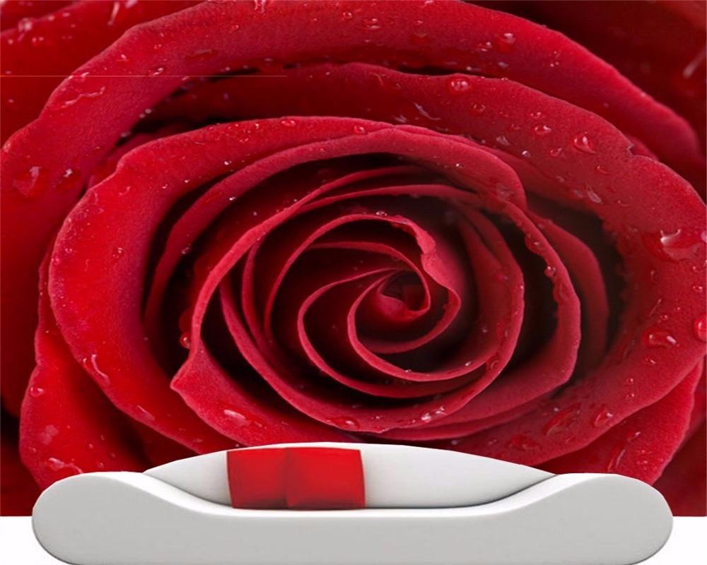 Beibehang Fashion Besar Bunga Mawar Merah Wallpaper Mural Dekorasi Pernikahan Latar Belakang Wallpaper Papel De Parede