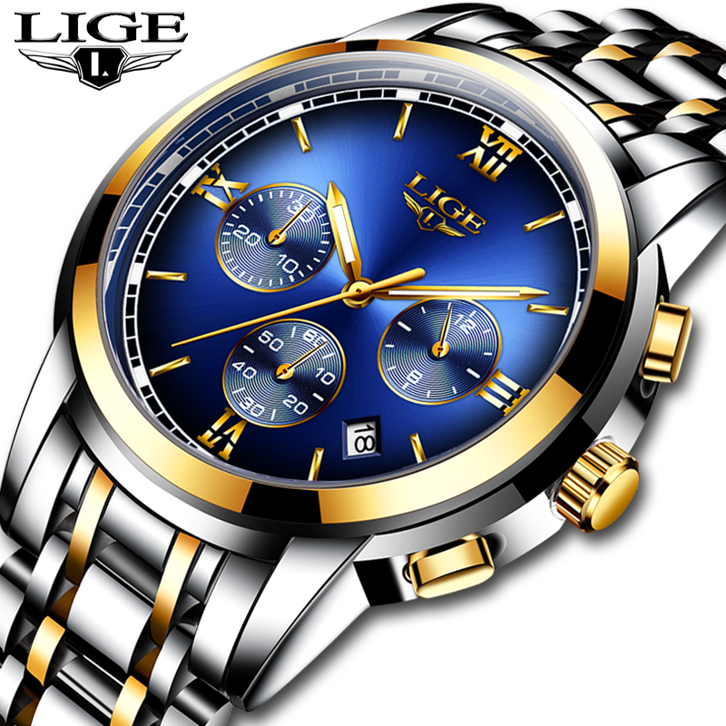 Relogio Fashion <font><b>LIGE</b></font> Men Watches Top Brand Luxury Business Stainless Steel Gold Quartz Watch Men Casual Waterproof Chronograph image