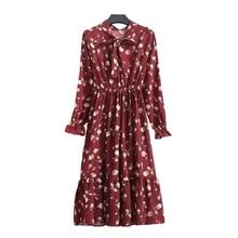 Women Maxi Long Dress 2018 Vintage Floral Print Dresses Long Sleeve FLORAL Casual Loose Vestidos Plus Size