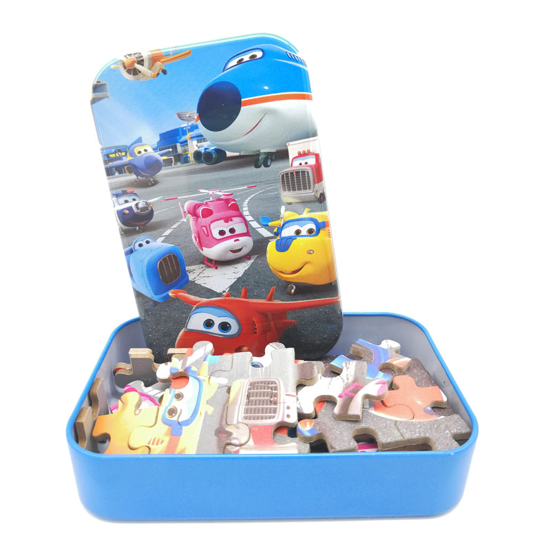 60pcs/100pcs Cartoon Super Wings Wooden Puzzle Toy 3D Puzzle Iron Box Package for Child Educational Montessori Wooden Toys(China)
