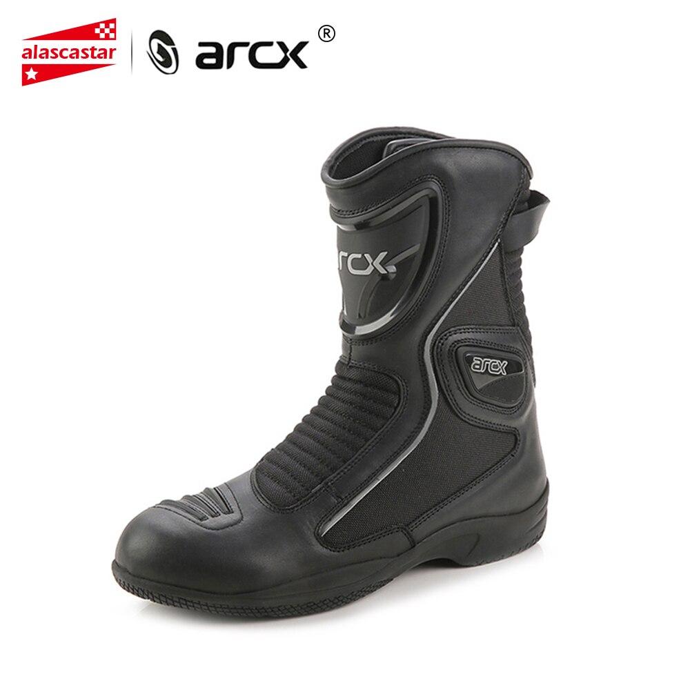 ARCX Stivali Da Moto In Pelle di Mucca Stivali Moto Impermeabile Motocross Stivali di Strada Degli Uomini di Moto CruiserTouring Scarpe di Guida Scarpe