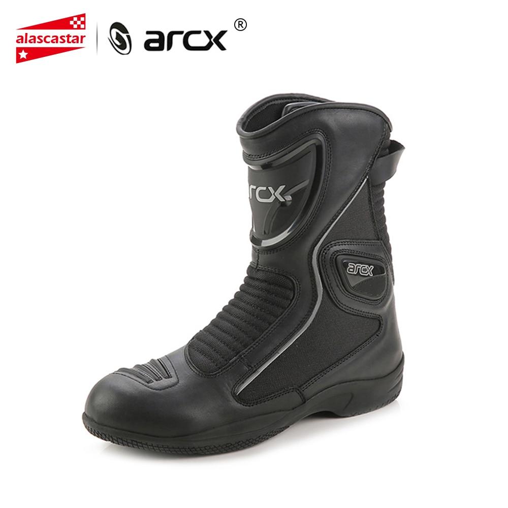 ARCX bottes de Moto En Cuir de Vache Moto Bottes Étanche Motocross Bottes Hommes Rue Moto CruiserTouring Chaussures chaussures de Moto