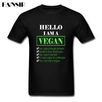 Men Tshirts Tailored 100 Cotton Short Sleeve T Shirts Male I Am A Vegan Adult Tops