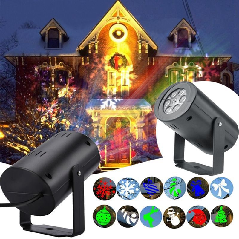 12 Patterns Projector Light Waterproof Sparkling Landscape Stage Light Lamp Party Lights Holiday Christmas Decorations For Home