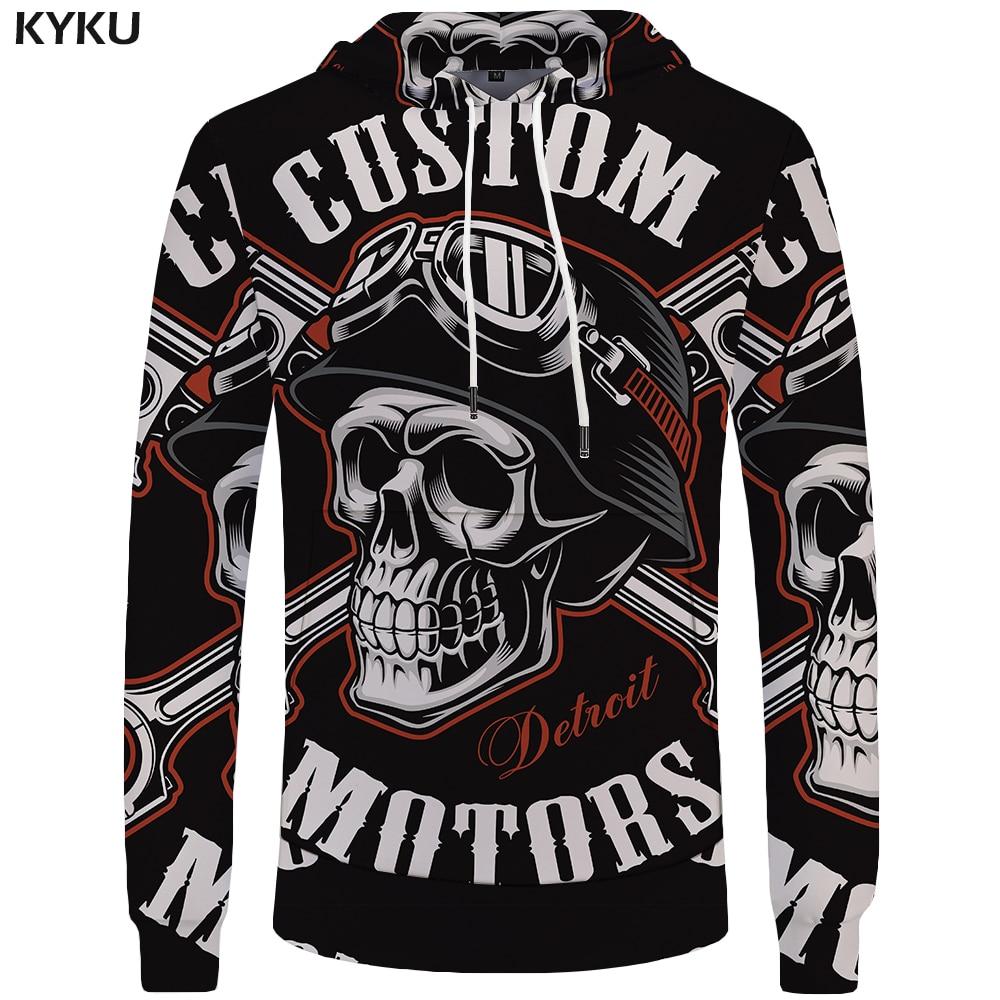 KYKU Brand Skull Hoodie Men Space Hoodies Black Gothic 3d Print Sweatshirt Punk Rock Clothes Hip Hop Mens Clothing Streetwear
