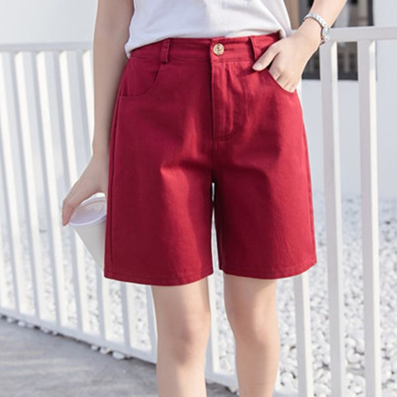 Red Women Summer Shorts Solid Pocket Button High Waist Short Femme Linen Shorts Casual Loose Loose Shorts Plus Size S-3XL