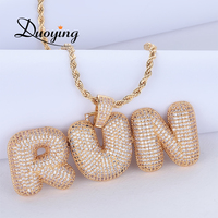 Duoying Custom Name Bubble Letters Chain Pendants Necklaces Men's Zircon Hip Hop Jewelry With 4MM Tennis Chain Gift for Men