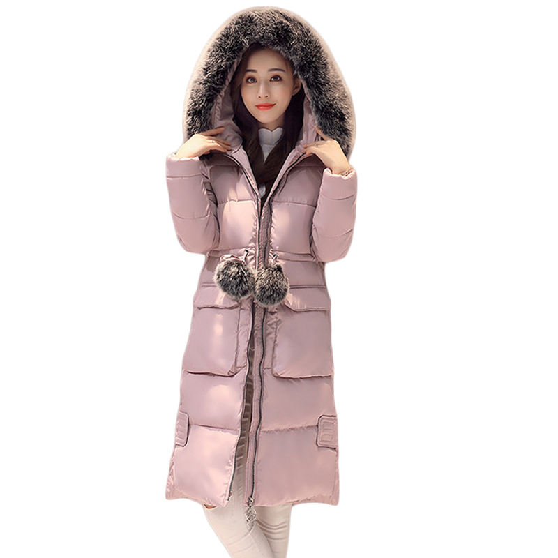 New Winter Coat Women 2017 Large Fur Hooded Long Jacket Women Parkas Cotton-padded Thick Warm Female Coat Plus Size L-3XL CM1907 women winter cotton padded jacket warm slim parkas long thick coat with fur ball hooded outercoat female overknee hoodies parkas
