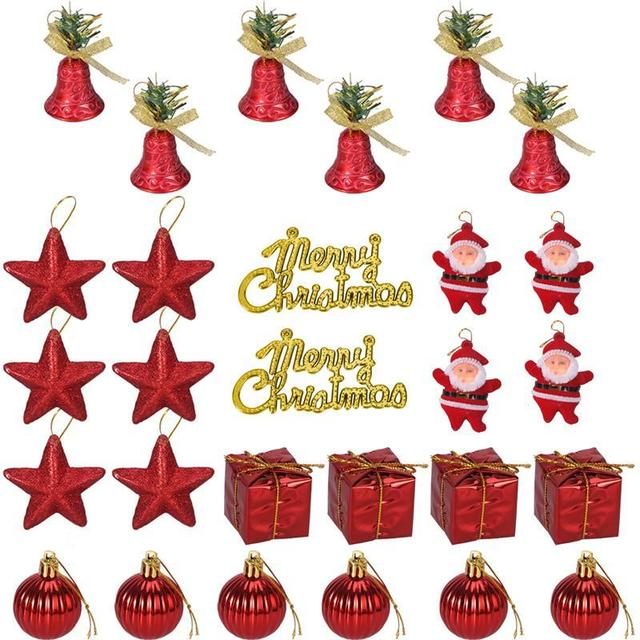 28pcs Colorful Glitter Mini Jingle Bells Stars Balls Santa Claus