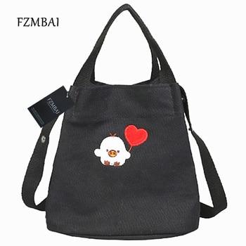 FZMBAI Spring & Summer Canvas Shoulder Bags Fashion All-match Lovely Chick Pattern Bags grande bolsas femininas de couro