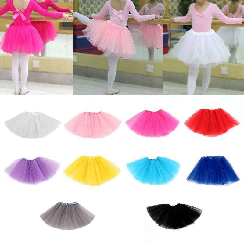 NEW Children Kids Girl Three Layered Ballet Dance Tutu Skirt Classic Solid Color Mini Pleated Skirts Elastic Party Petticoat