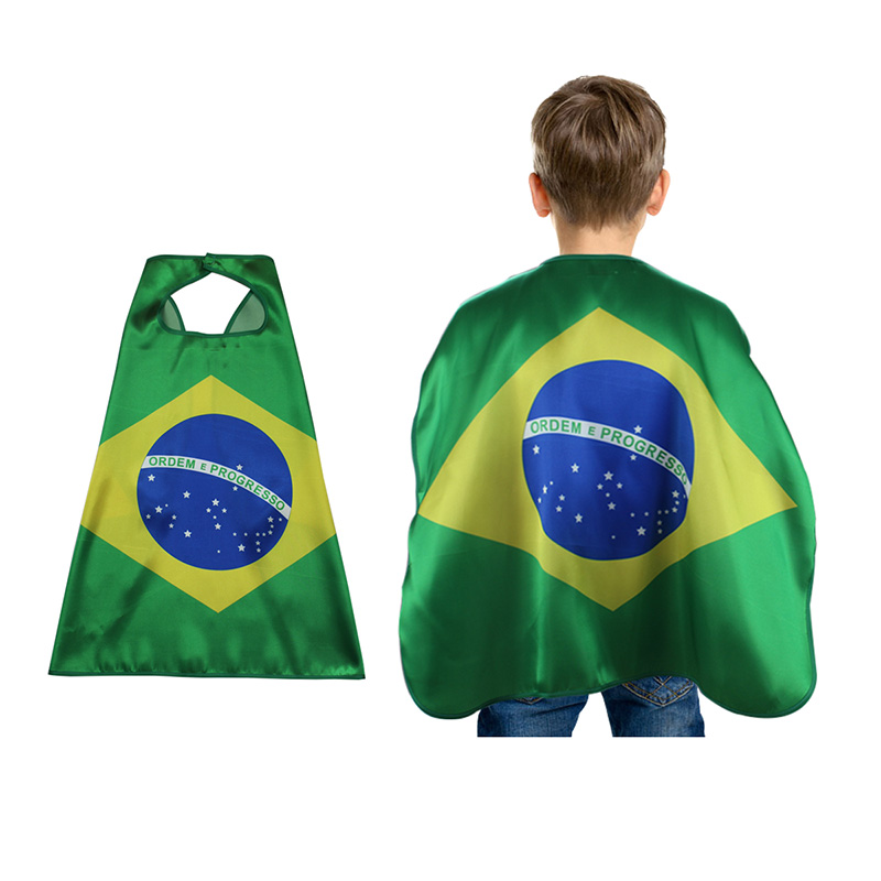 8 Colors Child National Day Flag Robe Group Boy Girls Football Soccer Cheering Cup Party Funny Cloak Cape Gift For Kids 3-10T